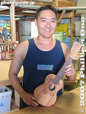 Derek Shimizu at GString Ukulele factory