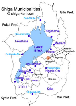 Map of Shiga with Toyosato highlighted