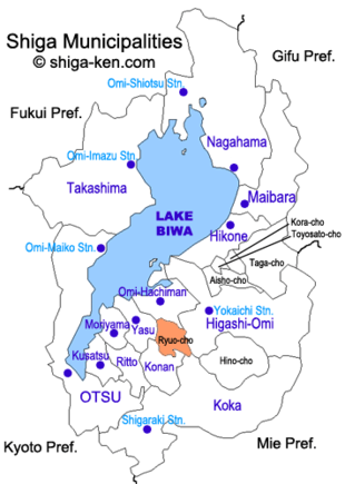Map of Shiga with Ryuo highlighted
