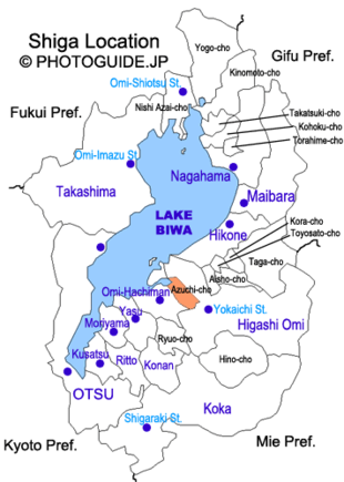 Map of Shiga with Azuchi highlighted