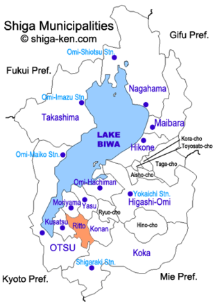 Map of Shiga with Ritto highlighted