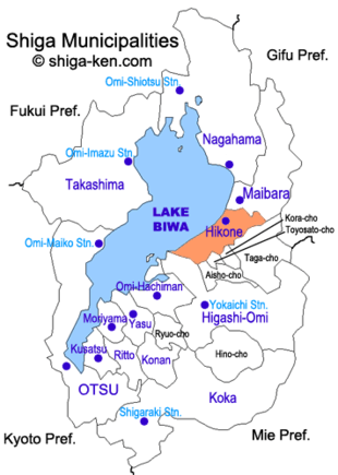 Map of Shiga with Hikone highlighted