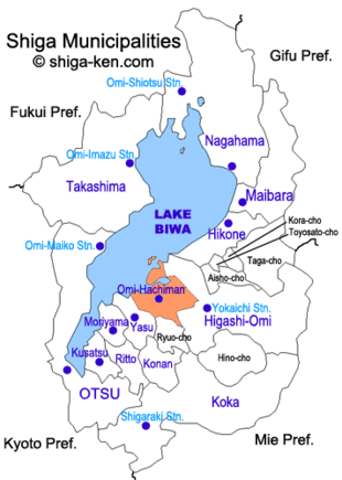Map of Shiga with Omi-Hachiman highlighted