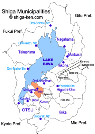 Map of Shiga with Yasu highlighted