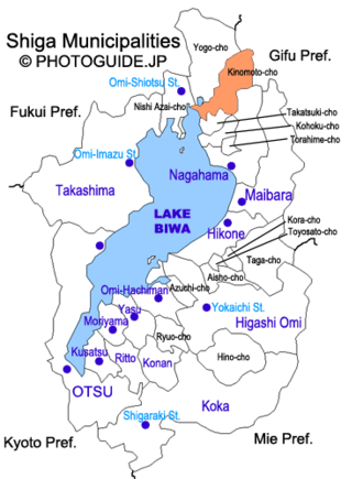 Map of Shiga with Kinomoto highlighted