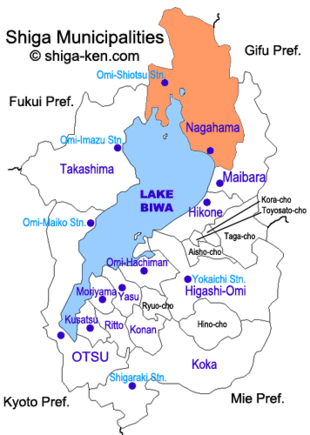 Map of Shiga with Nagahama highlighted