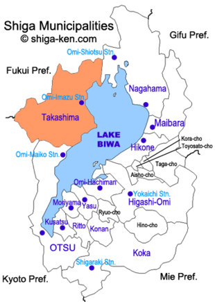 Map of Shiga with Takashima highlighted