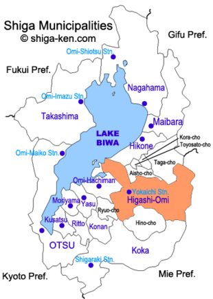 Map of Shiga with HigashiOmi highlighted