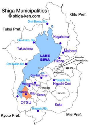 Map of Shiga with Kusatsu highlighted