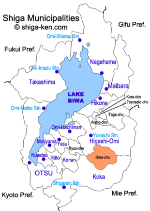 Map of Shiga with Hino highlighted