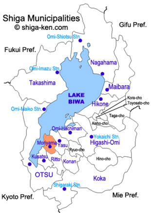 Map of Shiga with Moriyama highlighted