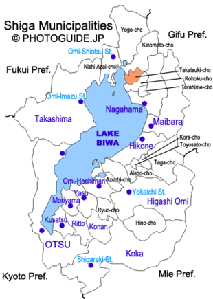 Map of Shiga with Takatsuki highlighted