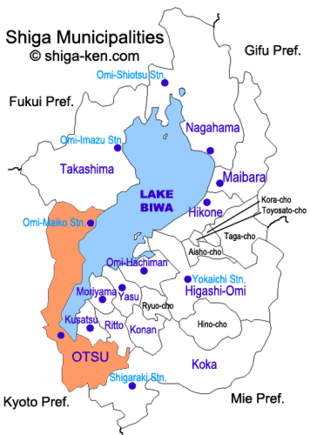 Map of Shiga with Otsu highlighted