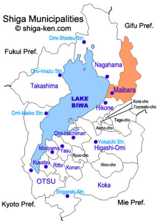 Map of Shiga with Maibara highlighted