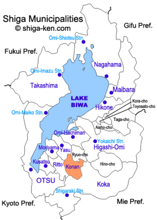 Map of Shiga with Konan highlighted